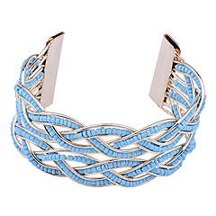 Bohemian Gold Plated  Resin Bead Double-Deck Weave Cuff Bracelet