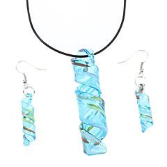 Delicate Ribbon Pattern Coloured Glaze Earrings with Necklace Suits