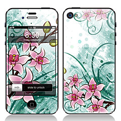 Elegant Flower Design Front and Back Screen Protector Film for iPhone 4/4S