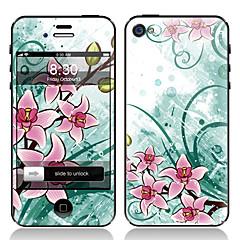 Elegant Flower Design Fram och tillbaka Displayfilm till iPhone 4/4S