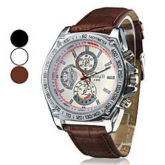 мужская гонок дизайна набора ПУ Кожаный ремешок кварцевые наручные часы (разных цветов)