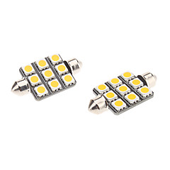 Pinol 41mm 1.5W 9x5050SMD Warm White Light LED pære til bil Læselampe (12V, 1-Pair)