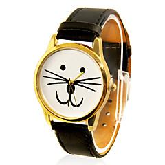 Diseño de la PU del reloj del cuarzo de las mujeres del gato Cara Casual Band analógico de pulsera (Negro)