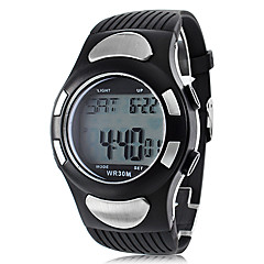 Men's Heart Rate Monitor Style Rubber Digital Automatic Wrist Watch with Electro Luminescent (Black)