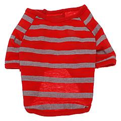 Perros Camiseta Rojo Verano Rayas