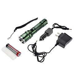 Samllsun Mise au point réglable recharge étanche 4-Mode CREE Q5 LED Flashlight ZY-R19 (240LM, 1x18650, Noir)