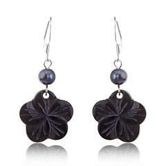 Korean Fashion Black Pearl With Shell Flower Pendent Earrings