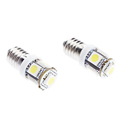E10 1W 5-SMD 70LM 6000-6500K White Light LED Bulb for Car (DC 12V, 2-Pack)