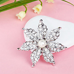 Silver Plated Full Rhinestone Flower Pearl White Brooch