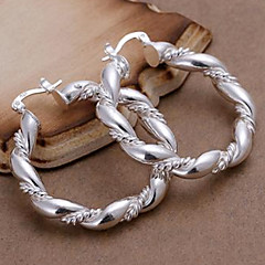 Silver Twisted Hoop Örhängen