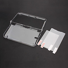 Clear Crystal Case Cover with Top+Bottom LCD Screen Protector For Nintendo 3DS XL