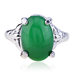 Vintage Style Alloy Emerald Gem Ring