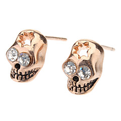 Rose Gold Skull Diamond Eye Stud Earrings