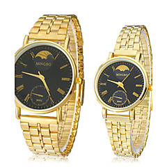 Couple's Black Round Dial Gold Alloy Band Quartz Analog Wrist Watch