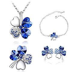 Z&x® австрийский четыре листьями комплект ювелирных изделий клевера кристалл женщин (серьги& ожерелье& браслет)