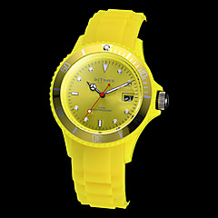 InTimes Unisex Calendar Function Small Round Dial Silicone Band Quartz Analog Wrist Watch (Assorted Colors)