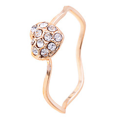 Korean Gold Plated Crystals Small Heart Ring