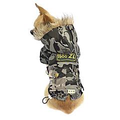 Perros Abrigos / Saco y Capucha Verde / Gris Invierno camuflaje