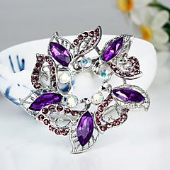 Moda Purple Crystal Silver Broche plateada de la Mujer