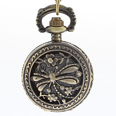Men's Hollow Dragonfly Cover Vintage Alloy Quartz Analog Pocket Watch