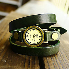 Women's Vintage Long Strap Style Leather Band Quartz Analog Bracelet Watch (Assorted Colors)