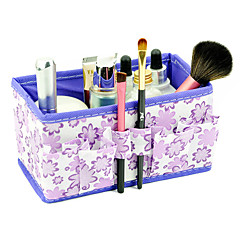 Folding Flower Pattern Quadrate Cosmetics Storage Organizer Stand Box Makeup Brush Pot(3 Color Choose)