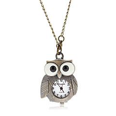 Kvinners Vintage Owl Pattern Dial Quartz Analog Necklace Watch