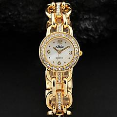De las mujeres blancas simple Dial de plata reloj pulsera de cuarzo de aleación de oro de cristal