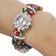 Donna Diamante Fiore modello cristallo variopinto della fascia di quarzo analogico della vigilanza del braccialetto