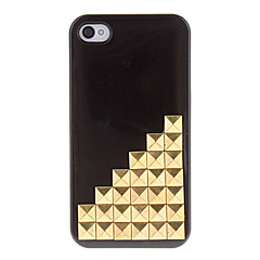Golden Square Rivets Covered Up Stairs Pattern Hard Case with Glue for iPhone 4/4S (Assorted Colors)