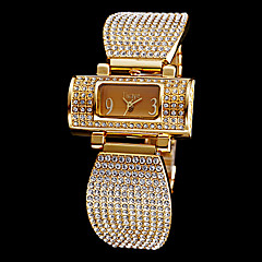 Women's Full Diamante Rectangle Dial Steel Band Quartz Analog Wrist Watch (Assorted Colors)