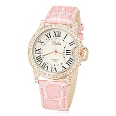 Vrouwen Diamante ronde wijzerplaat pu band quartz analoog horloge (verschillende kleuren)
