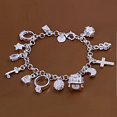 Sweet 18.5cm Women's Silver Copper Charm Bracelet(Silver)(1 Pc) Jewelry Christmas Gifts