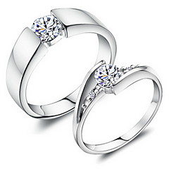 Sweet Couple Silver Rhinestone Couple Rings(1 Pair)