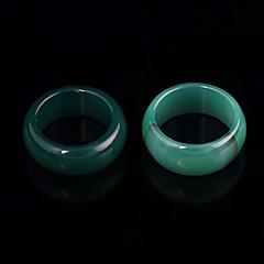 Classic Women'S Multicolor Agate Band Ring(Dark Green,Light Green)(1 Pc)
