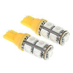T10 9x5050SMD 20-50LM Yellow Light LED Bulb for Car (12V,2 pcs)