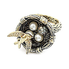 Korean Fashion Retro Pearl Nest Ring Finger