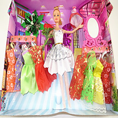 Barbie Doll Wardrobe With Ten Dresses And Accessories