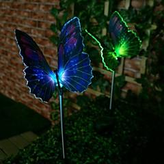 1-LED Kleurrijke Light LED Solar Light Fibre Optic Butterfly Stake Lights (2 stuks)