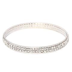 Victoria Czech Crystal Double Row Silvr Bangle Bracelet