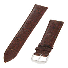 Men's 24mm Bamboo Grain Genuine leather Watch Band (Brown)