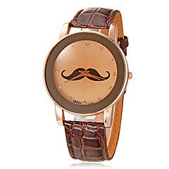 Women's Mustache Pattern Round Dial PU Band Quartz Analog Wrist Watch (Assorted Colors)