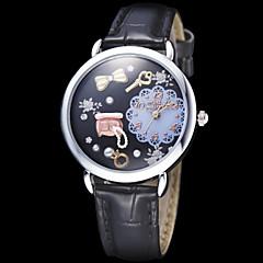 Bijoux Femmes décor en cuir noir de quartz de bande analogique montre-bracelet