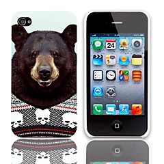 Likable Bear Pattern Hard Case with 3-Pack Screen Protectors for iPhone 4/4S