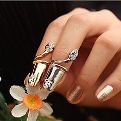Europe Style  Crystals Snake Pattern Fingernails Ring