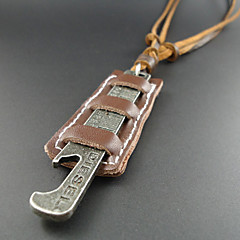 Classic (Square Pendant) Coffee Leather Vintage Necklace(Coffee) (1 Pc)