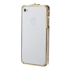Sparkling Rhinestone Electroplating Champagne Hard Metal Bumper Protective Case for iPhone 4/4S