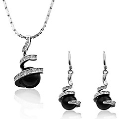 Fashion Spiral Tin Alloy Platinum-plated  Black Pearl Necklace and Earrings Set