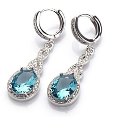 Fashion 925 Silver Plated Copper Blue Zircon Earrings