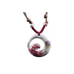 Classic (Round) Ceramic Necklace Red (1 Pc)